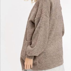 Two tone soft touch wool open cardigan